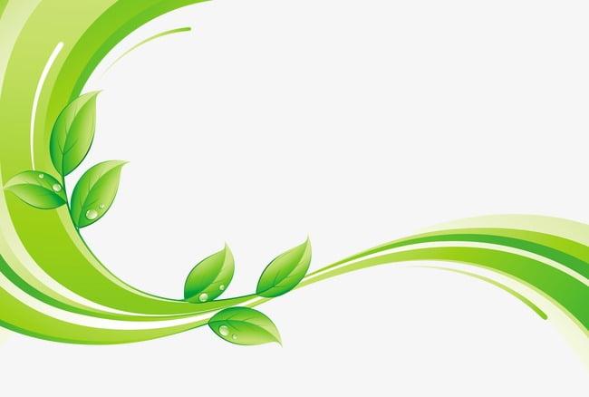 Hoja verde con lineas decorativas. PNG Clipart.
