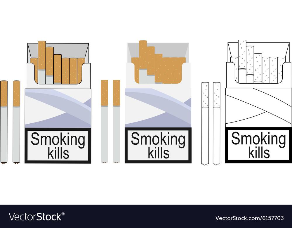 Cigarette pack icons Color no outline linea.