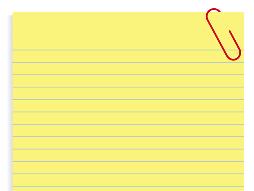 Yellow lined paper clipart.
