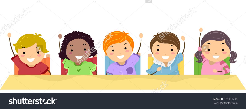 Illustration School Kids Lined Row Raising Stock Vector 124454248.