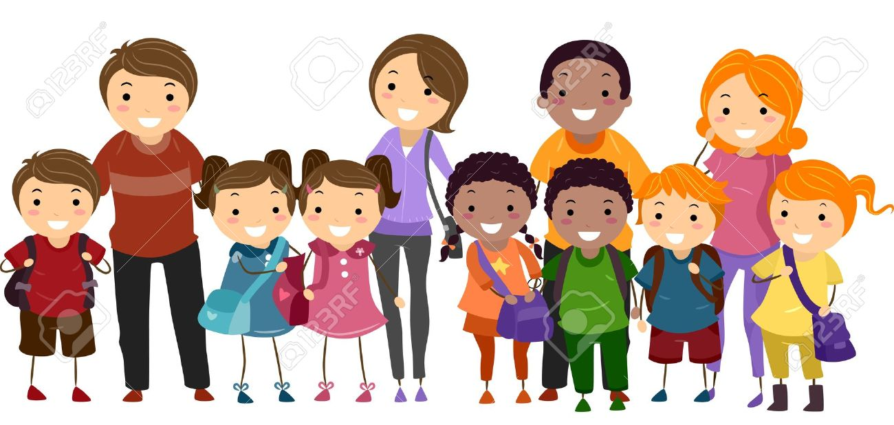 Illustration Of School Kids Neatly Lined Up In One Row Together.