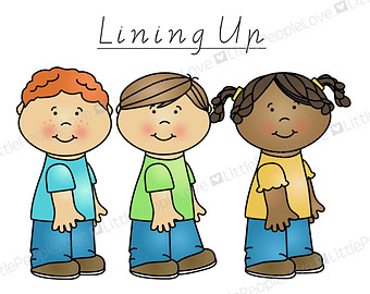 Kids lined up clipart.