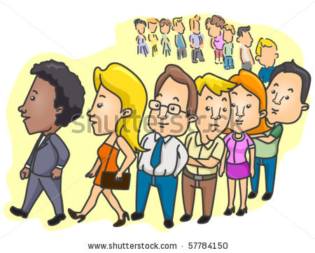 People Lined Up Clipart.