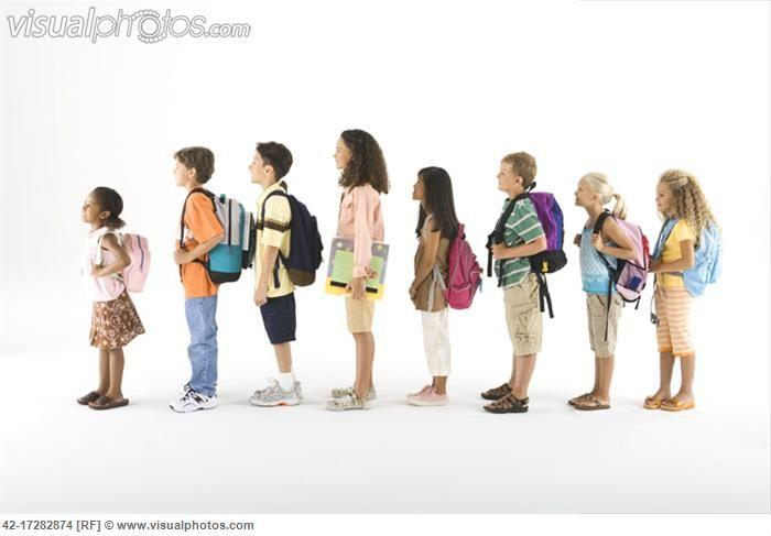 Student in line clipart.