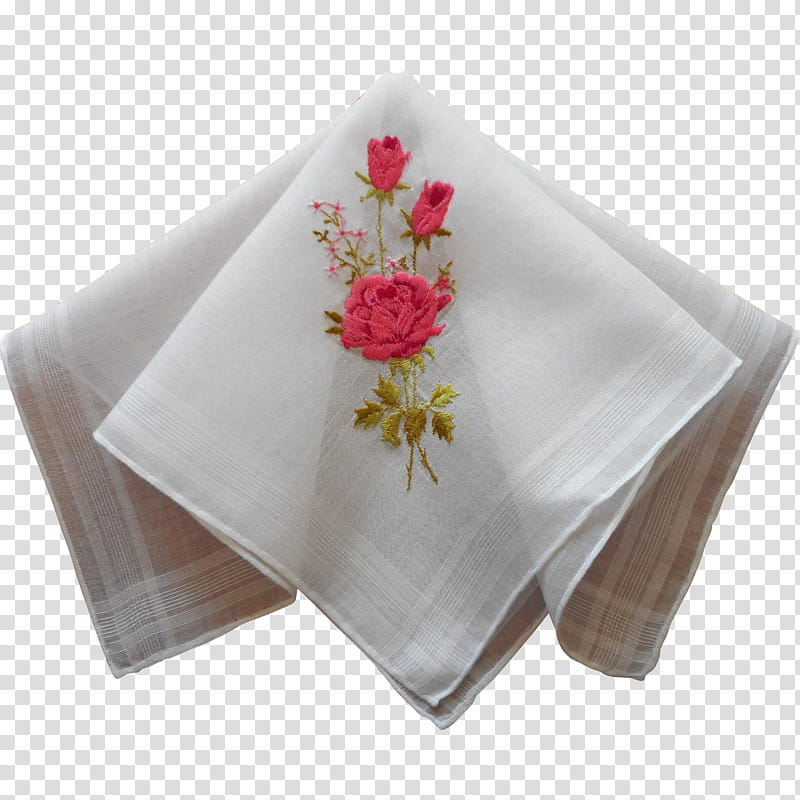Pink Flower, Cloth Napkins, Handkerchief, Linen, Embroidery.