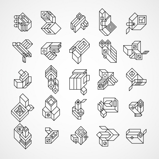 Abstract and geometric 3d logos set made with lines Vector.