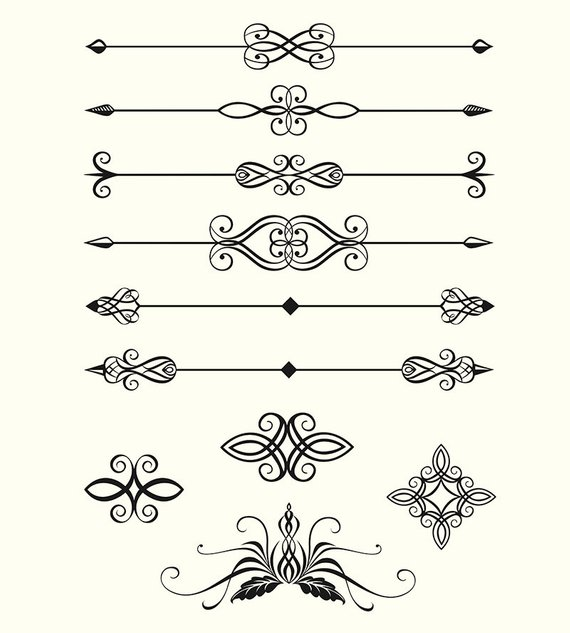 Digital Clipart Pack Line Dividers Calligraphic Decorative.