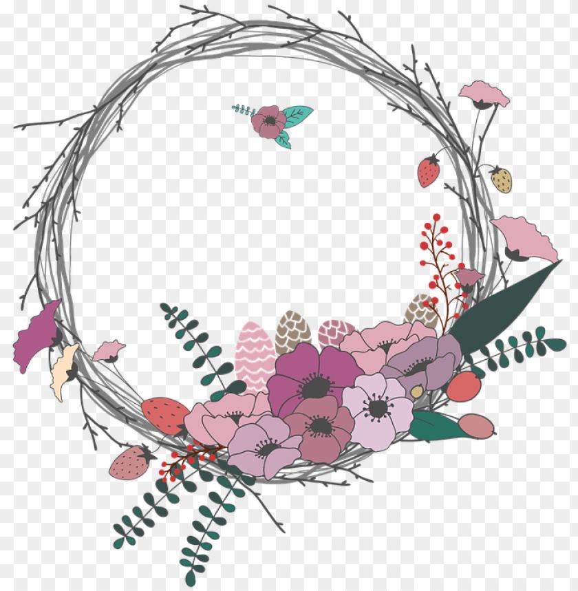 spring wreath clipart transparent.