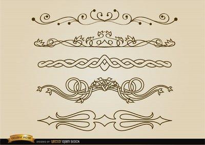 Conjunto de linhas de divisão decorativa Clipart Picture.