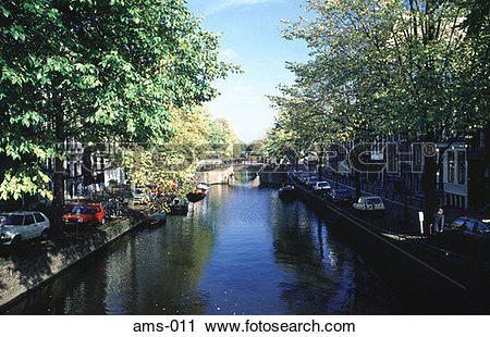 Stock Photography of Tree Lined Canal and Bridge Amsterdam ams.