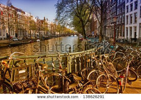 Amsterdam Holland Netherlands Romantic Bridge Over Stock Photo.