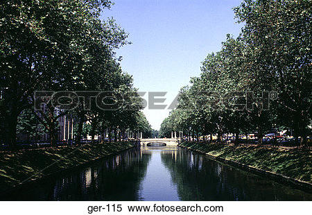 Stock Image of Tree Lined Canal Dusseldorf Germany ger.