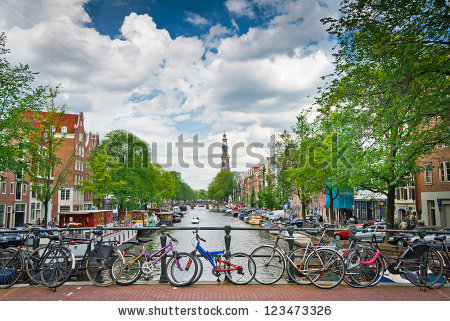 Bicycles Lining Bridge Over Canals Amsterdam Stock Photo 112674374.