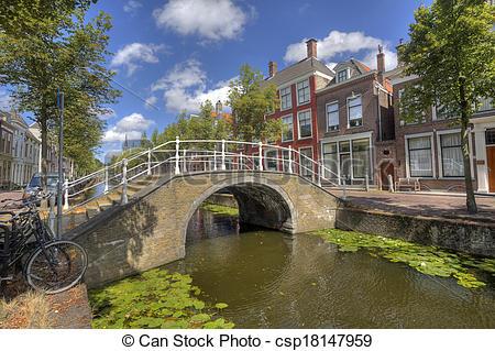Stock Images of Bridge in Delft, Holland.