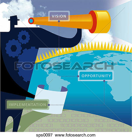 Stock Illustration of The linkage between a company's vision.