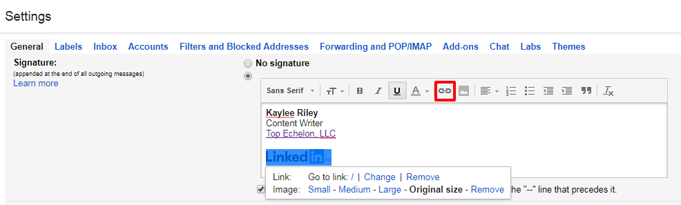 How to Add LinkedIn to Email Signatures.