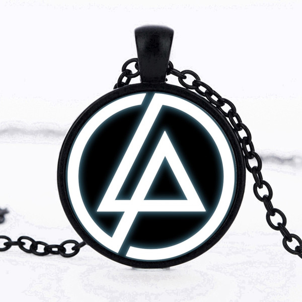Wholesale 2017 Fashion Linkin Park Logo Pendant 25mm Glass Necklaces  Lincoln Park Jewelry Necklace Dome Pendant Men And Children Party Gifts  Choker.
