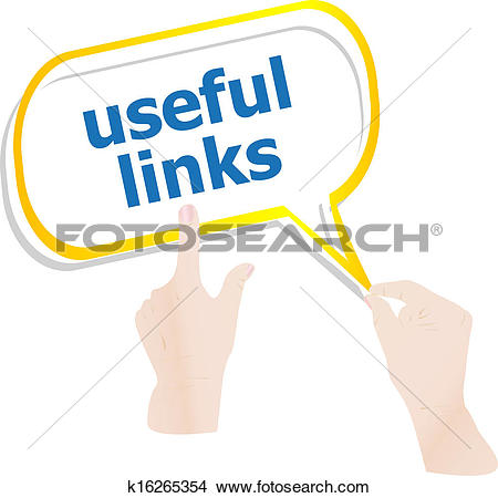 Drawings of hands holding abstract cloud with useful links word.