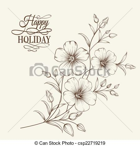 Vector Clip Art of Linum flower isolated over gray background.