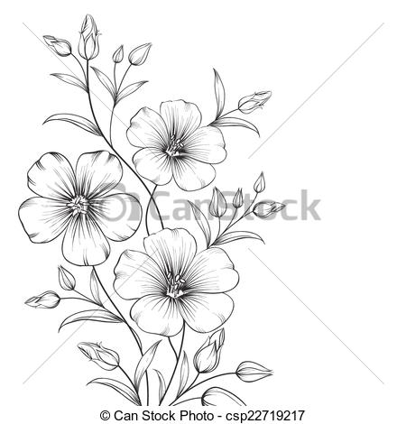 Vector Clip Art of Linum flower isolated over white background.