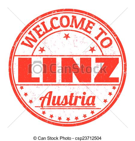 Vector Clipart of Welcome to Linz, Austria stamp.