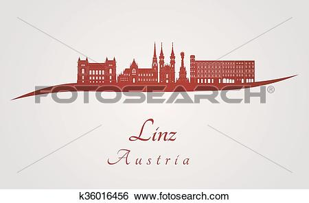 Clip Art of Linz skyline in red k36016456.