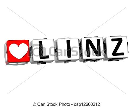 Clipart of 3D I Love Linz Crossword Block text on white background.