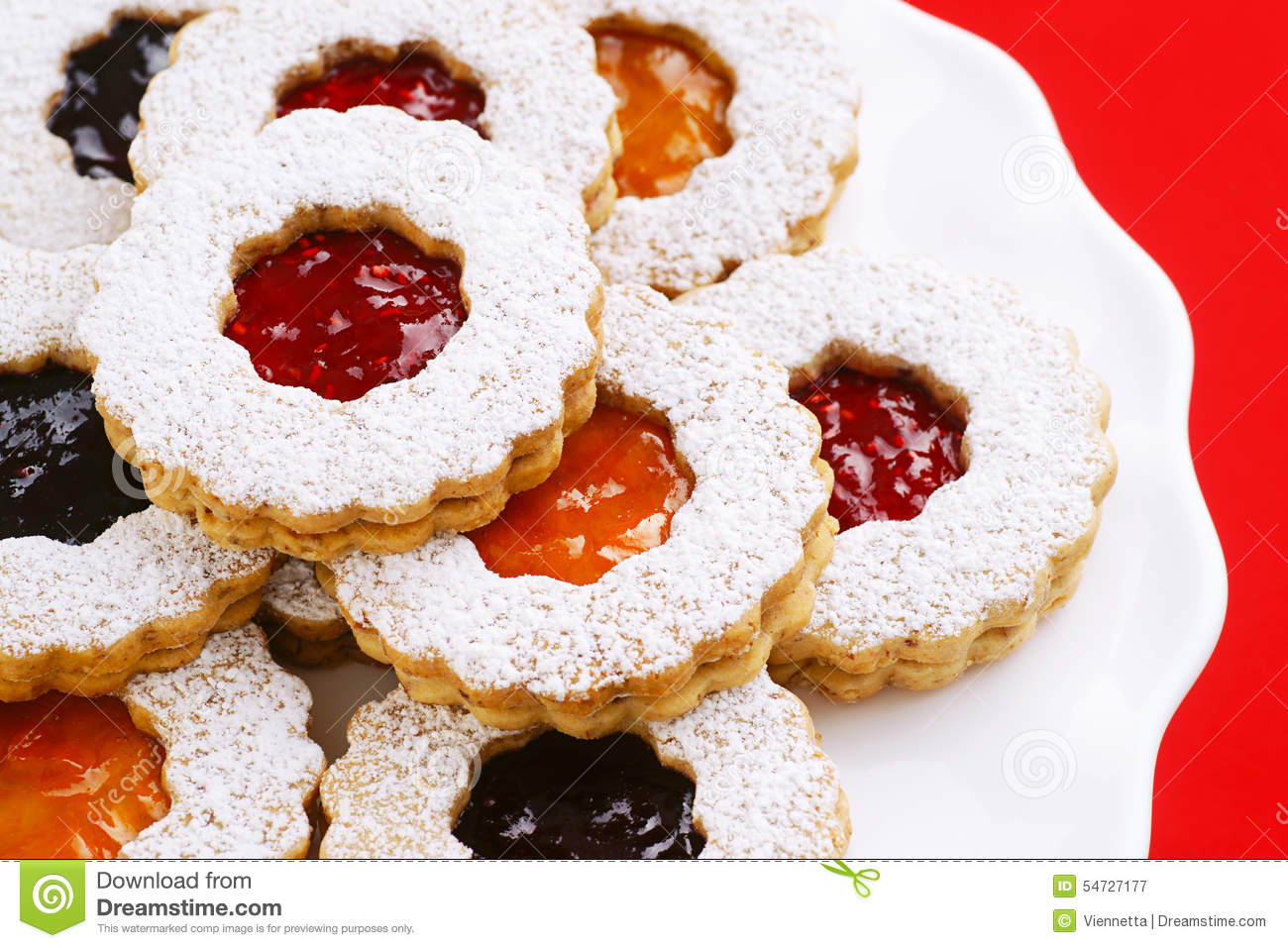 Holiday Linzer Torte Almond Cookies With Preserves Stock Photo.