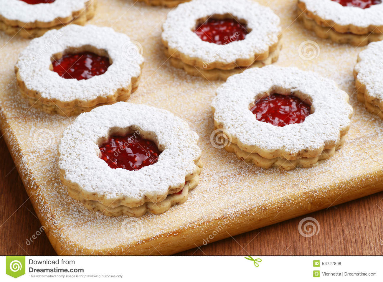 Raspberry Jam Linzer Torte Cookies Stock Photo.