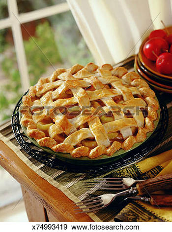 Stock Photograph of Lattice topped apple pie x74993419.