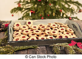 "Stock Photo of Tasty cookies called ""Linzer augen""."