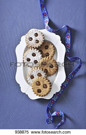 Stock Image of Linzer Augen (nutty shortcrust jam sandwich.