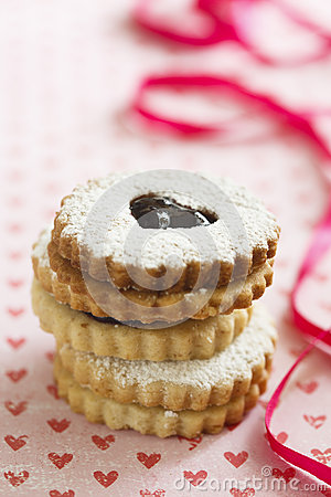 Linzer Augen Cookies Stock Photos, Images, & Pictures.