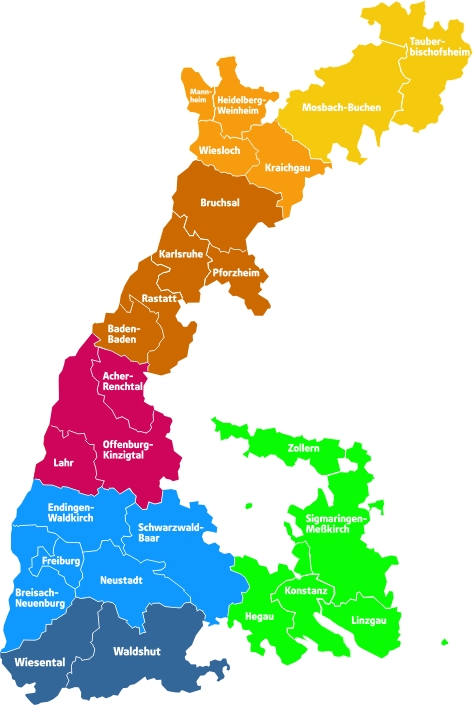 Bezirke und Ortsgruppen.