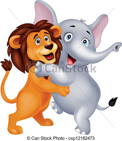 lion and elephant clipart #20