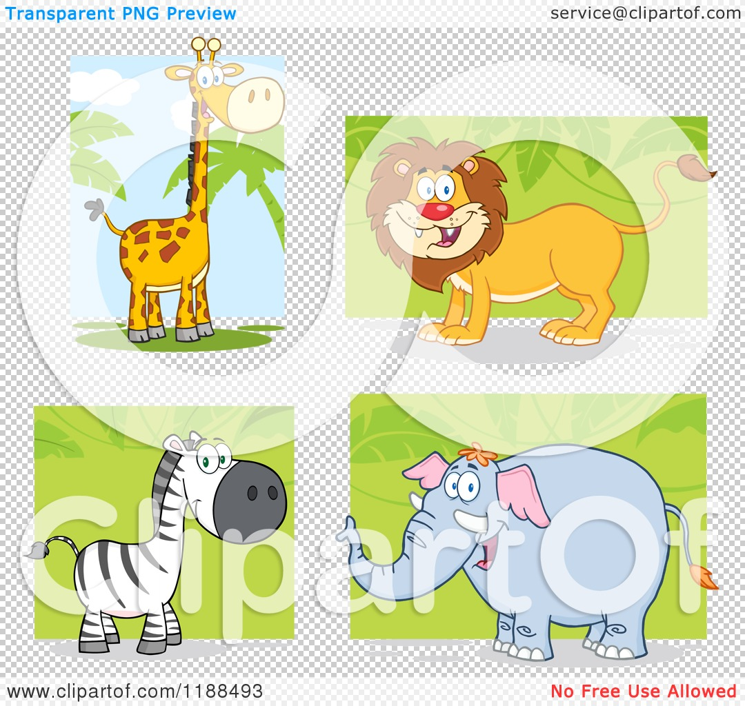 lion and elephant clipart #8