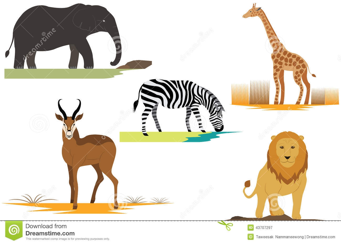 lion and elephant clipart #3