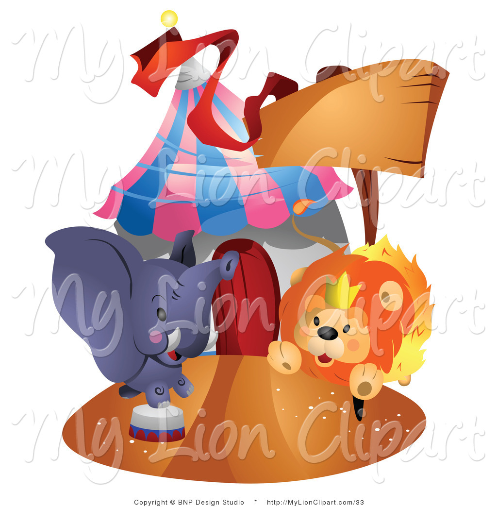 lion and elephant clipart #4