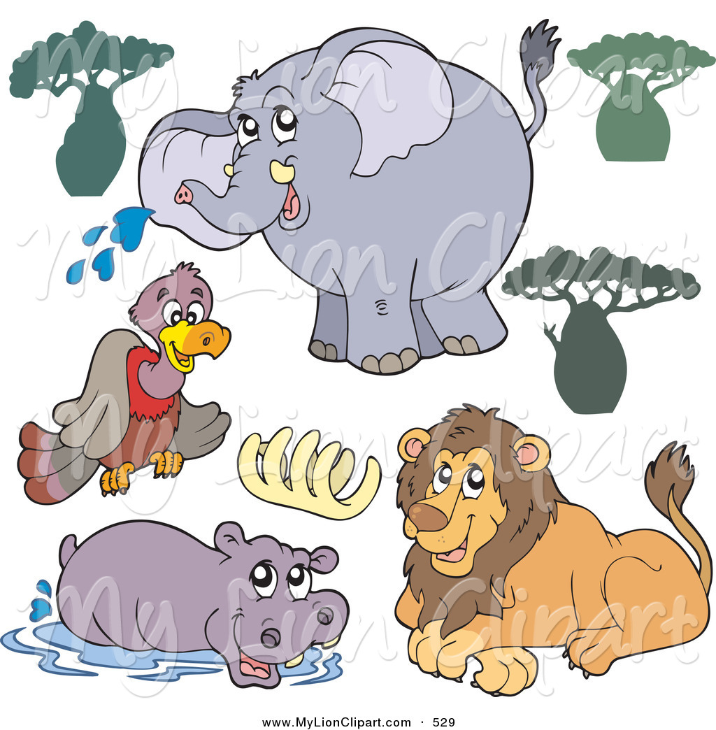 lion and elephant clipart #2