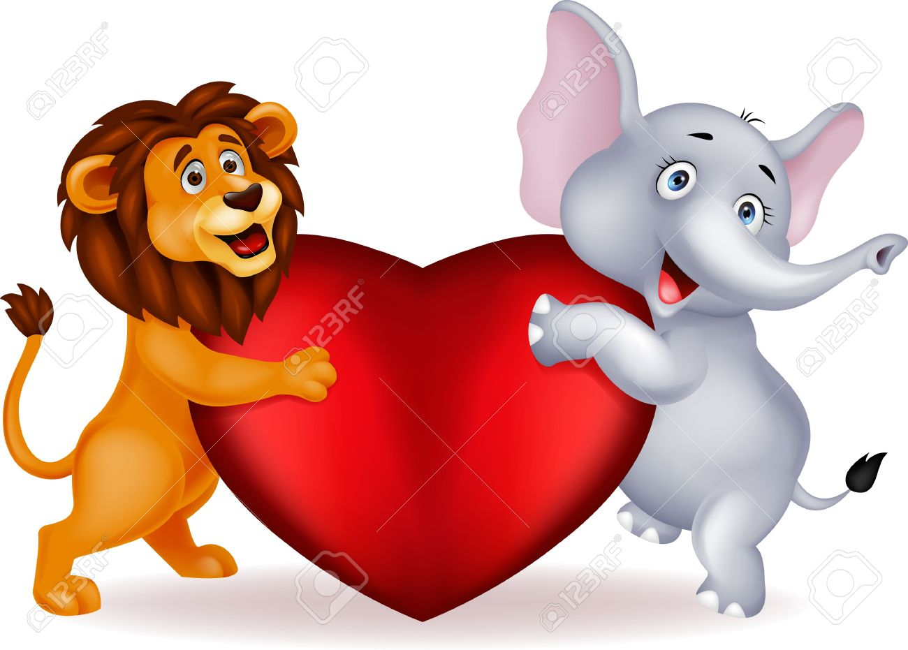 lion and elephant clipart #19