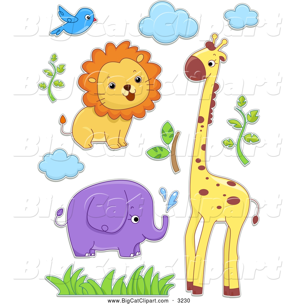 lion and elephant clipart #12