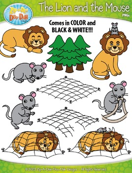 The Lion and the Mouse Famous Fables Clipart {Zip.