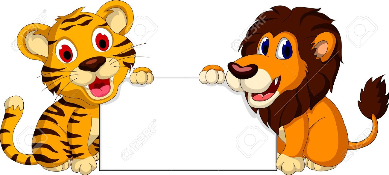 Cute Lion And Tiger Cartoon With Blank Sign Royalty Free Cliparts.