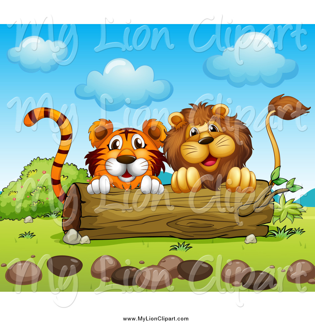 Clipart of a Male Lion and Tiger Peeking from Behind a Log by.