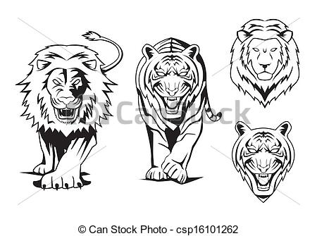 EPS Vectors of Lion And Tiger csp20913593.