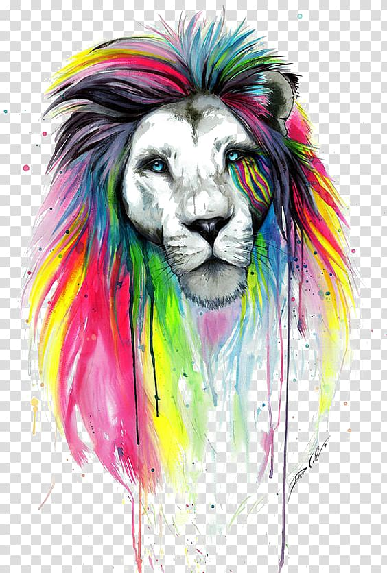 Lion Drawing Painting Art, Watercolor lion, multicolored.