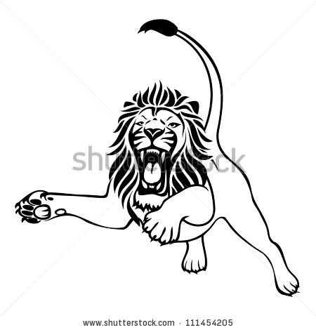Lion Attack Stock Images, Royalty.
