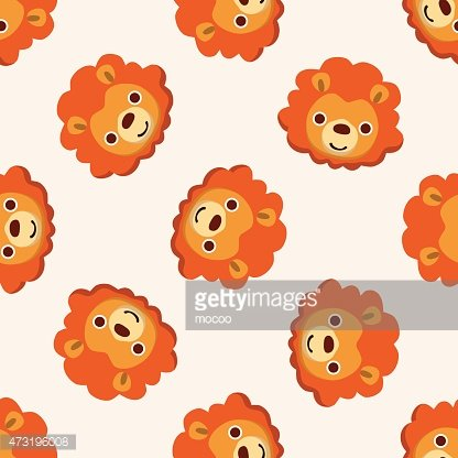 animal lion cartoon , cartoon seamless pattern background.
