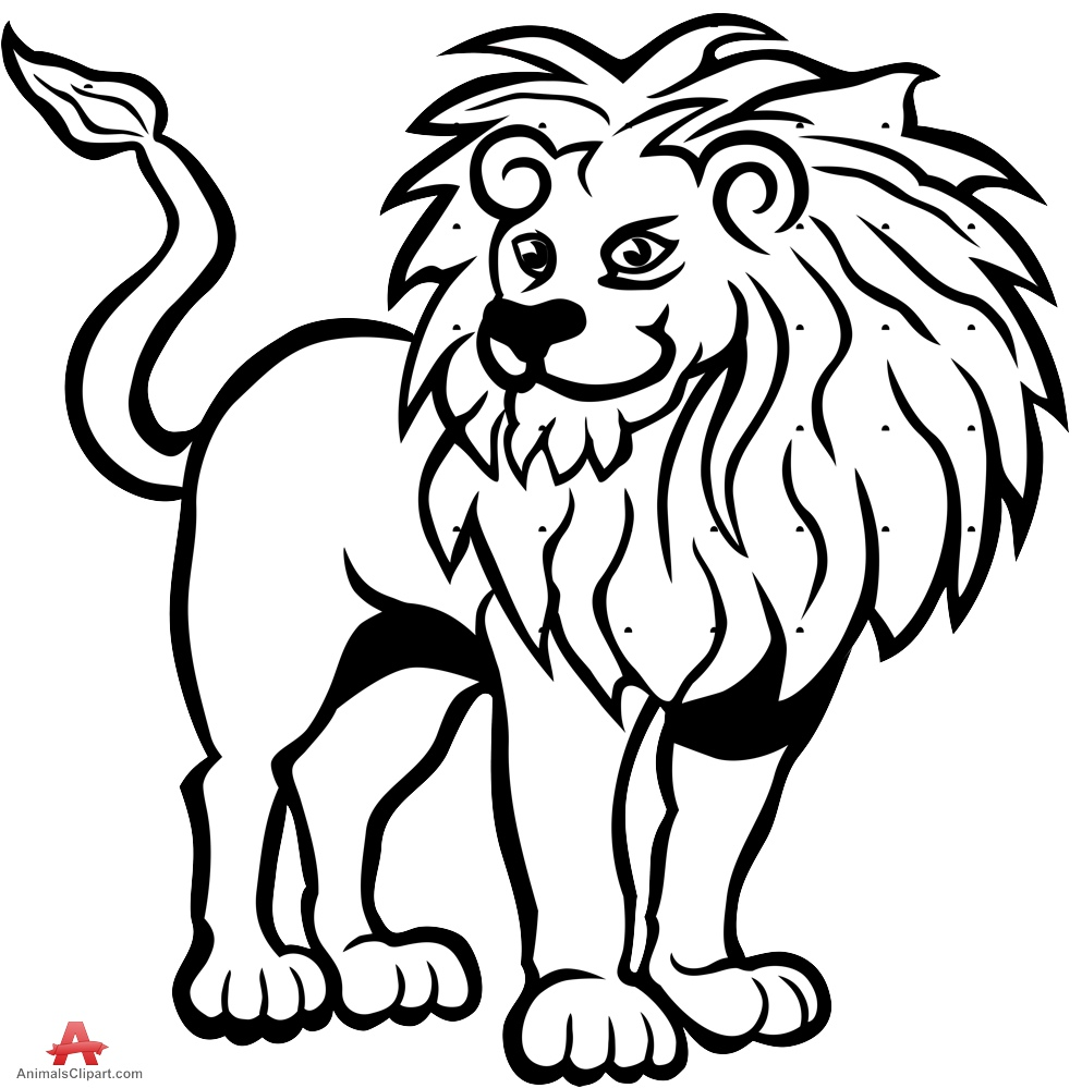 Lion Black And White Lion, Lion Black And White Free Clipart.
