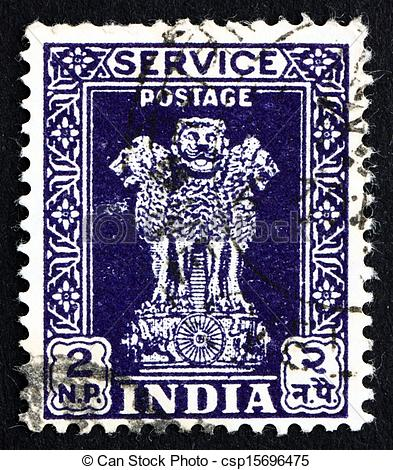Picture of Postage stamp India 1957 Lion Capital of Ashoka Pillar.